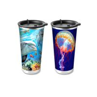 Cheap Custom Printed 3D Lenticular Printing Service 3D Plastic Cup 420ML for sale