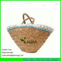 Cheap fashion seagrass straw bags natural wicker beach bag for sale