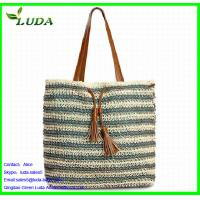 Cheap Crochet Paper String Woven Tote Bags w/PU Leather for sale