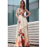Cheap DORISQUEEN(Dress in stock )asymmetric off shoulder printed with leaves liked applique summer dresses for sale