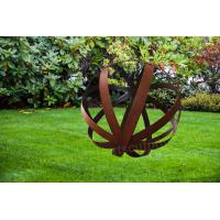 Cheap Hollowed Out Football Shape Corten Steel Sculpture As Front Yard Ornament for sale