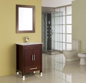 Cheap MDF / Solid Wood Board Walnut Single Sink Vanity Cupboard 15mm Door Thickness for sale