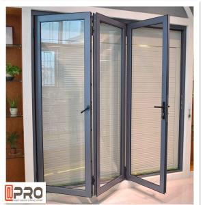 China Powder Coated Aluminium Bifold Doors , Anti Aging Folding Panel Doors on sale