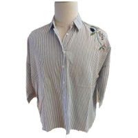 China Embroidery Ladies Cotton Blue And White Striped Blouse on sale