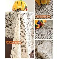 Cheap 100% cotton beige 1.5gg crotch cutout handmade crochet table cloth 110 160 for sale