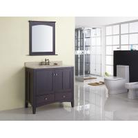 Cheap Square Modern Bathroom Sink Vanity / Rectangle Sink Vanity Contemporary Dark Brown for sale