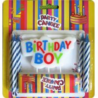 Cheap Dripless Printing Letter Birthday Candles Blue Spiral Wax For Boy Theme Party for sale
