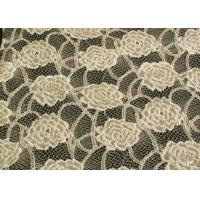 Cheap Eco-Friendly Brushed Lace Fabric Yellow , Garment Trimming Anti-Static Material CY-LQ0039 for sale