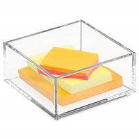 China Customized Clear Lucite 4x6 Acrylic Brochure Holders / Paper Sticky Note Pad Holder on sale