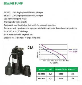 Cheap SEWAGE PUMP SBC250 SBC370 for sale