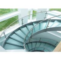 Cheap Curved staircase with tempered clear glass railing top railing for sale