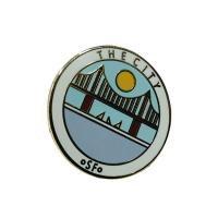 Buy cheap Custom Hard Enamel Pins / Business Lapel Pins With Fresh Style Bridge Pattern from wholesalers