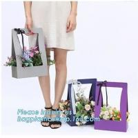 Custom paper bag with handle coated white paper bag printing pattern flower carrier bag,Flower carrier paper bags with d
