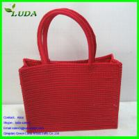 Cheap Dyed Bright Red Paper String Beach Summer Bags for sale