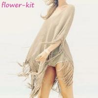 Cheap Female sexy swimwear coverups see through crochet knit  women beach dress cover up with tassel for sale