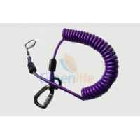 Cheap Purple Nylon Retractable Tool Lanyard Plastic Covered With Aviation Aluminum Hook for sale