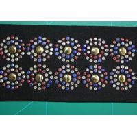 Cheap Colorful Rhinestone Black Elastic Webbing 5cm , Beautiful Round Pattern for sale