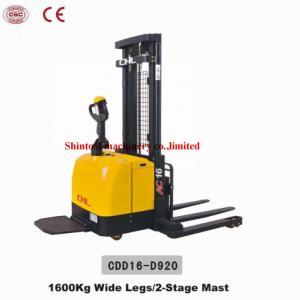 Cheap 1600kg Electric Pallet Stacker CDD16-D920 Wide Legs With Electromagnetic / Regenetative Brake for sale