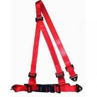 Cheap Buckle Style Red Racing Safety Belts With Bolts / 3 Point Retractable Seat Belts for sale