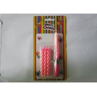 Cheap Sweet Pink Musical Birthday Candle , 8CM Length Pillar Striped Birthday Candles for sale