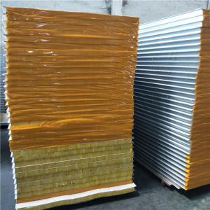 Cheap 0.326-0.476mm rock wool prefab house sandwich panels 2200x1150x50mm for worker camp for sale