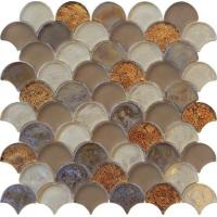 Cheap Brown blend color water waving glass mosaic for counter decoration wholesale