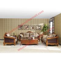 Cheap European Country Style Classic Solid Wooden Sofa Made by Italy Leather and Fabric Sofa Set for sale