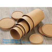 Cheap Disposable kraft paper soup cup_Double wall disposable hot coffee kraft paper soup cup_Easy Take away cups lid spoon for sale