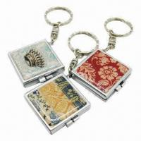 Buy cheap Keychains with mirror function and epoxy face, one side mirror and other photo from wholesalers