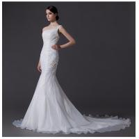 Cheap Ladies Organza mermaid One Shoulder Wedding Gowns cathedral train wedding dresses for sale