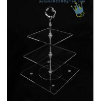 Cheap CD (42) 3-layer cake stand with silver stick for sale