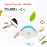 Cheap 2.4A Quick Multi Charger Micro USB Cable 3 In 1 For IPhone Android Watch for sale