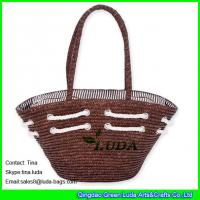 Cheap new fashion lady brown color wheat straw beach bags and totes for sale