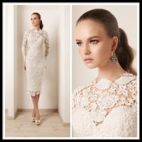 China White Lace Plus Size Cocktail Dress Short With Long Sleeve , Knee Length Gowns on sale