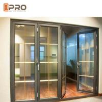 China Horizontal Aluminum Folding Doors For Kitchen With Double Tempered Glass folding doors with mosquito net on sale
