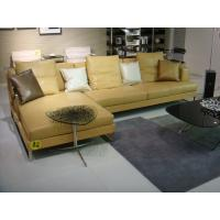 Modern Yellow Leather Living Room Sectional Sofas With