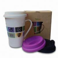 Cheap Porcelain Mug with Silicone Lid, Dishwasher and Microwave Safe and Heat Resistant for sale