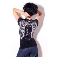 Buy cheap Womens bling bling tshirt angels wings printing and stones for summer from wholesalers
