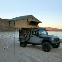 Cheap PU Coated 4x4 Off Road Roof Top Tent With 2M Extendable Aluminum Ladder for sale