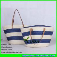 Cheap LUDA navy blue striped totes lady summer paper straw shopping bag handbags for sale