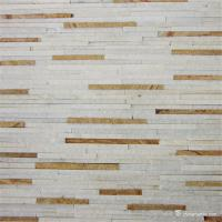 China White Yellow Fine Strip Quartzite Stone Veneer for Hotel / Retail Shops Decor on sale