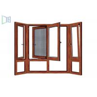 Cheap Wooden Color Swing Open style Aluminum Hinged Window With Fly Screen for sale