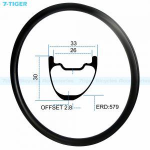 Cheap 7-tiger carbon mountain bicycle wheel rim 29 er asymmetric offset XC bike 30 x 33 mm Tubeless Compatible for sale
