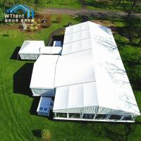 China Heavy Duty Custom Party Tents Glass Door Roof Pitch Without Pole Inside on sale
