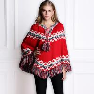 China 2014 NEW Women Brand  Winter Women long-sleeved printing wool bat shawl sweater coat stock now on sale