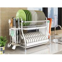 Cheap Dish Drainer Drying Stainless Steel Storage Racks On Wheels With Cutlery Holder And Cup Holder for sale