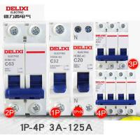 Cheap Delixi HDBE Miniature Industrial Circuit Breaker 1~63A 80~125A 1P 2P 3P 4P AC230/400V for sale