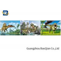 Cheap Customized Dinosaur 3D Lenticular Printing With Framed , 3D Lenticular Flip Picture for sale