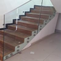 Cheap Residential interior 12mm Clear Tempered Safety Glass Aluminum Railing Handrail for sale