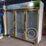 Cheap OP-A408 Triple Glass Door Gold Color Luxurious Supermarket Glass Door Fridge for sale